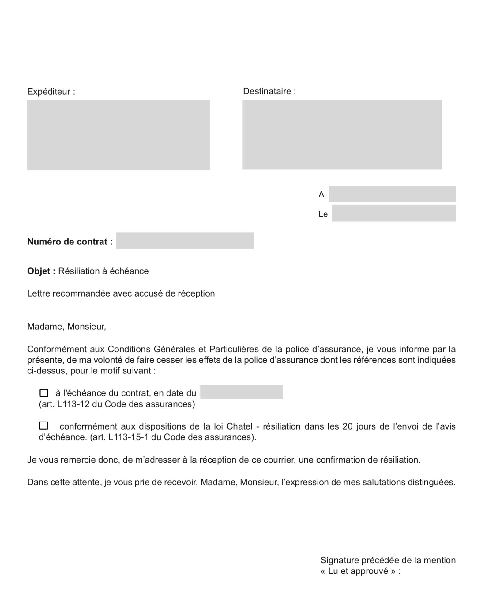 lettre resiliation assurance bateau